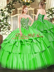 Enchanting Floor Length Sweet 16 Quinceanera Dress Sweetheart Sleeveless Lace Up