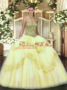 Ball Gowns Ball Gown Prom Dress Light Yellow Sweetheart Tulle Sleeveless Floor Length Lace Up
