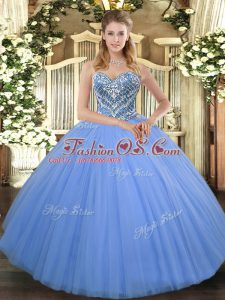 Enchanting Floor Length Lace Up Ball Gown Prom Dress Baby Blue for Military Ball and Sweet 16 and Quinceanera with Beading