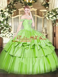 Superior Organza and Taffeta Off The Shoulder Sleeveless Lace Up Beading and Ruffled Layers Sweet 16 Dresses in