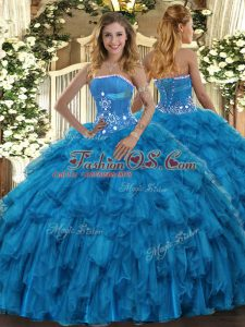 Baby Blue Organza Lace Up Quinceanera Gown Sleeveless Floor Length Beading and Ruffles