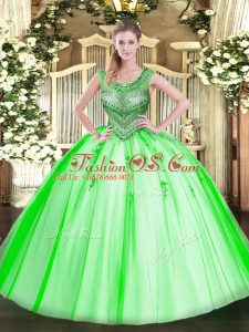 Discount Scoop Lace Up Beading Ball Gown Prom Dress Sleeveless
