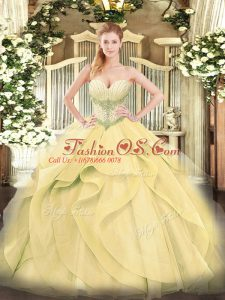 Spectacular Gold Sleeveless Tulle Lace Up Quinceanera Gown for Military Ball and Sweet 16 and Quinceanera