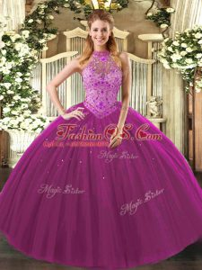 Beading and Embroidery Quinceanera Dresses Fuchsia Lace Up Sleeveless Floor Length