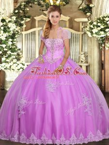 Lilac Ball Gown Prom Dress Military Ball and Sweet 16 and Quinceanera with Appliques Strapless Sleeveless Lace Up