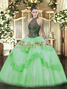 Clearance Ball Gowns Taffeta and Tulle Halter Top Sleeveless Beading and Appliques Floor Length Lace Up Sweet 16 Dresses