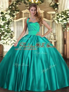 Beauteous Turquoise Sleeveless Floor Length Ruching Lace Up Quinceanera Gowns