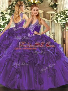 Sweet Purple Ball Gowns Beading and Ruffles Sweet 16 Dress Lace Up Organza Sleeveless Floor Length