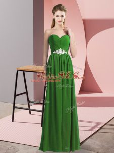 Sleeveless Chiffon Floor Length Lace Up Womens Party Dresses in Green with Beading