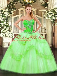 Popular Sweetheart Sleeveless Tulle Sweet 16 Dresses Beading and Ruffles Lace Up