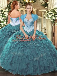 Teal Sleeveless Floor Length Beading and Ruffles Lace Up Vestidos de Quinceanera