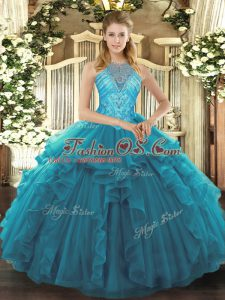 Perfect Ball Gowns 15th Birthday Dress Teal High-neck Organza Sleeveless Asymmetrical Lace Up