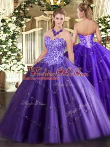 Modest Purple Ball Gowns Tulle Sweetheart Sleeveless Appliques Floor Length Lace Up Sweet 16 Dress
