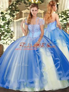 Best Selling Floor Length Blue 15 Quinceanera Dress Tulle Sleeveless Appliques and Ruffles