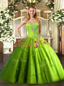 Vestidos de Quinceanera Sweet 16 and Quinceanera with Beading Sweetheart Sleeveless Lace Up
