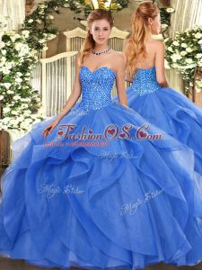 Luxury Sleeveless Tulle Floor Length Lace Up 15th Birthday Dress in Blue with Beading and Ruffles