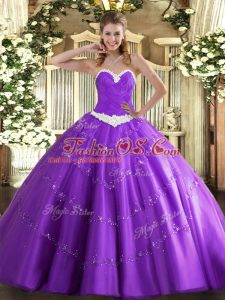 Lavender Sleeveless Appliques Floor Length Ball Gown Prom Dress