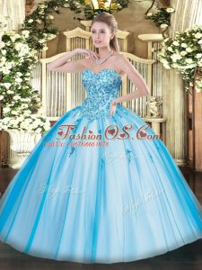 Gorgeous Sweetheart Sleeveless Tulle Quinceanera Gowns Appliques Lace Up