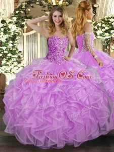 Lovely Lilac Ball Gown Prom Dress Military Ball and Sweet 16 and Quinceanera with Beading and Ruffles Sweetheart Sleeveless Lace Up