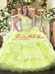 Custom Design Yellow Green Ball Gowns Organza Scoop Sleeveless Beading and Ruffled Layers Floor Length Lace Up 15 Quinceanera Dress