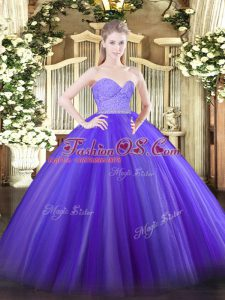 Sweetheart Sleeveless 15th Birthday Dress Floor Length Beading and Lace Lavender Tulle