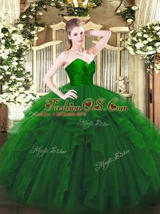 Amazing Green Ball Gowns Sweetheart Sleeveless Tulle Floor Length Zipper Ruffles 15 Quinceanera Dress