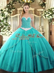 Lace Up Quinceanera Gown Turquoise for Military Ball and Sweet 16 and Quinceanera with Appliques Brush Train