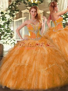 Stunning Organza Sleeveless Sweet 16 Dresses and Beading and Ruffles
