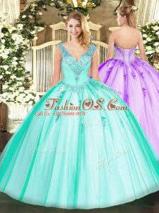 Extravagant Turquoise Lace Up V-neck Beading Quince Ball Gowns Organza and Tulle Sleeveless
