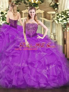 Pretty Sleeveless Organza Floor Length Lace Up 15th Birthday Dress in Purple with Beading and Ruffles