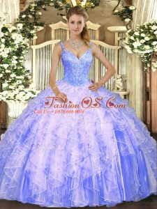 Luxury Lavender V-neck Neckline Beading and Ruffles Ball Gown Prom Dress Sleeveless Lace Up