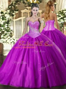 Sophisticated Purple Vestidos de Quinceanera Military Ball and Sweet 16 and Quinceanera with Beading Sweetheart Sleeveless Lace Up