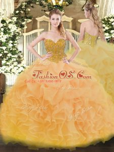 Dynamic Floor Length Lace Up Quinceanera Gown Gold for Military Ball and Sweet 16 and Quinceanera with Beading and Ruffles