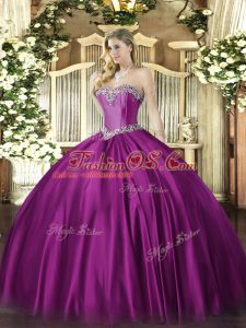 Classical Fuchsia Sleeveless Beading Floor Length Quinceanera Gowns
