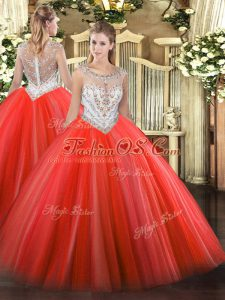 Superior Sleeveless Floor Length Beading Zipper 15 Quinceanera Dress with Coral Red