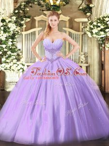 Exceptional Floor Length Lace Up Quince Ball Gowns Lavender for Military Ball and Sweet 16 and Quinceanera with Beading