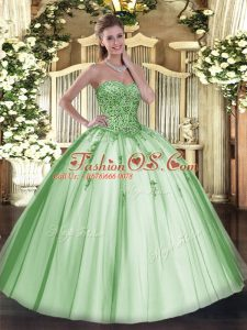 Fabulous Sleeveless Floor Length Beading and Appliques Lace Up Quinceanera Gown with Apple Green