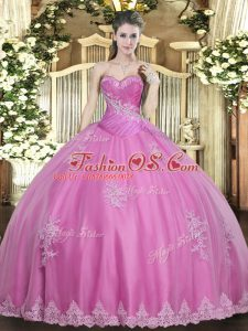 Great Rose Pink Tulle Lace Up Quince Ball Gowns Sleeveless Floor Length Beading and Appliques