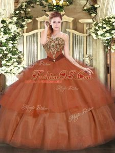 Custom Fit Sleeveless Lace Up Floor Length Beading and Ruffled Layers Sweet 16 Dress