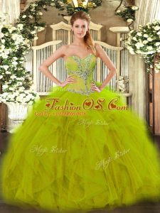 Olive Green Organza Lace Up Sweetheart Sleeveless Floor Length Quinceanera Gown Beading and Ruffles