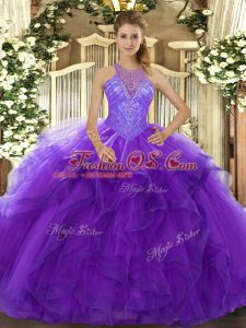 Fantastic Floor Length Lace Up Sweet 16 Quinceanera Dress Purple for Military Ball and Sweet 16 and Quinceanera with Beading and Ruffles
