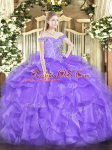 On Sale Sleeveless Organza Floor Length Lace Up 15 Quinceanera Dress in Lavender with Beading and Ruffles