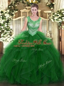 Artistic Green Organza Lace Up 15th Birthday Dress Sleeveless Floor Length Beading and Ruffles