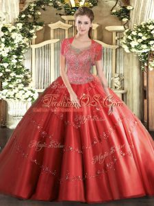Scoop Sleeveless Clasp Handle Ball Gown Prom Dress Coral Red Tulle