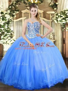 Baby Blue Ball Gowns Beading Vestidos de Quinceanera Lace Up Tulle Sleeveless Floor Length