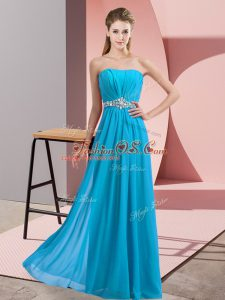 Shining Empire Prom Evening Gown Baby Blue Strapless Chiffon Sleeveless Floor Length Lace Up