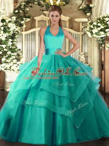Turquoise Sleeveless Floor Length Ruffled Layers Lace Up 15 Quinceanera Dress