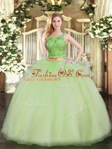Yellow Green Two Pieces Organza Scoop Sleeveless Beading Floor Length Lace Up 15 Quinceanera Dress