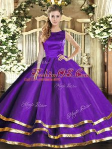 Fine Sleeveless Lace Up Floor Length Ruffled Layers Sweet 16 Dresses