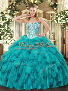 Affordable Tulle Sweetheart Sleeveless Lace Up Beading and Ruffles Quinceanera Dress in Teal
